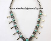 SQUASH BLOSSOM style reproduction statement necklace Alloy&Howlite Turquoise Bohemian Native American southwestern inspired by Inali #SB04