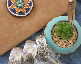 Nepalese Bohemian stacking Cuff bracelets Alloy silver plated cuff bracelet hippie Gypsy style bracelet by Inali