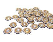 Designer Pearls Beaded Golden Bullion Appliques White Small Round Shape Women Sari Patches Appliques Craft Patches By 12 Pcs/1 Dozen APS313C