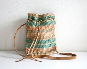 Mint Green Stripe Sisal Bucket Bag
