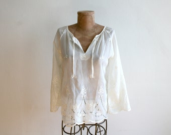 Embroidered Boho Sheer Blouse s-m