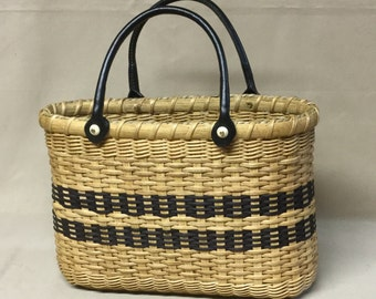 Small Hand Woven Basket Purse, Rectangular Wood Base, Oval Top Opening, Black Accents
