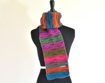 Ombré Rainbow Bohemian Scarf, Beautiful Variegated Colors, One of a Kind Fashion Scarf, Gorgeous Gift for Her, Ready to Ship