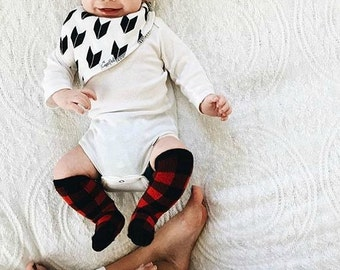 Baby and toddler knee high socks, Baby socks Boot Socks in Buffalo Plaid baby shower gift baby gift nordic print patterned socks red and bla