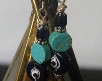 Evil Eye Earrings, Bohemian Turquoise Earrings