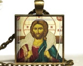 Christ The Shepherd Icon Glass Tile Pendant Orthodox Necklace Christian Jewelry
