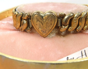 Vintage Co-Star Sweetheart Expansion Bracelet, Jack & Jill Harwood Pink Velvet Box, 12K Gold Filled, 1940s Girl's Bracelet