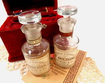 2 Antique La Rue of Paris Perfume Bottles in Original Red Velvet Carrying Case - RARE Victorian Perfume Set