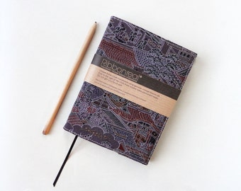 Stunning Dusky Purple Grey Vintage Kimono Silk Reusable Notebook and Cover 'Kyoto'