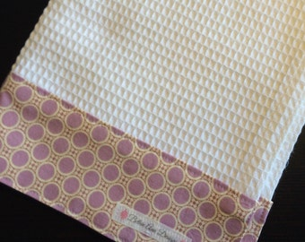 Kitchen Towel, Hand Towel, Tea Towel, Waffle Weave Towel, Dish Towel, Kitchen Hand Towel-Lavender Dot