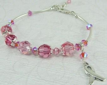 Pink Breast Cancer Awareness Silver Ribbon Bracelet