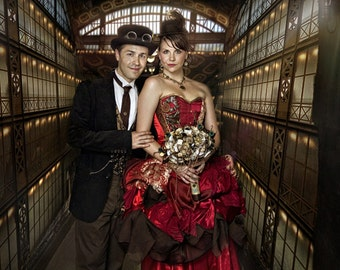 Custom colours steampunk wedding dress, sample size 8-10