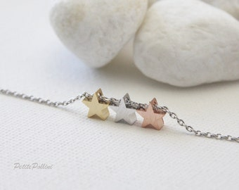 Lucky Stars Necklace in Silver/ Gold. Three Stars. Triple Stars. Everyday Wear. Birthday. Christmas Unisex Gift (PNL-84)