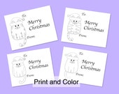 Digital Download -Christmas Cat Gift Tags to Color In