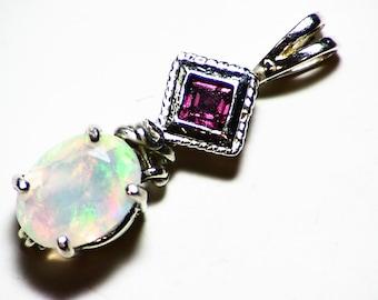 Rhodolite Garnet and Ethiopian Opal Pendant in Sterling Silver