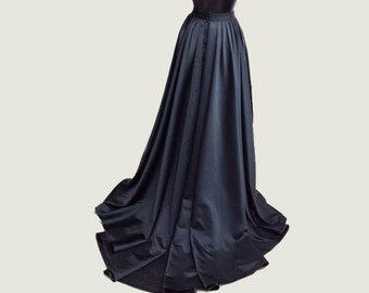 Satin Duchesse,Bridal skirt, floor length with train at back, full volume skirt. Black,White,Ivory. High quality High fashion Made to order