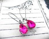 Fuchsia Jewel Earrings, Victorian Earrings, Victorian Jewelry, Gothic Jewelry