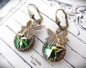 Green Fairy Earrings, Victorian Earrings, Jewel Earrings, Art Nouveau Style Belle Epoque Bohemian Jewelry