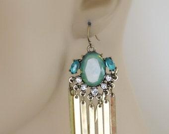 Tassel Earrings - Aquamarine Earrings - Boho Festival Earrings - Green Opal Earrings - Crystal Earrings - Dangle Earrings - Handmade