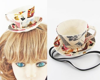 Ready to Ship! Textile Teacup Fascinator-Antique Style Playing Cards *Alice in Wonderland's Mad Hatter Tea Party!*