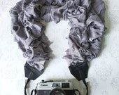 Ruffled Scarf Camera Strap, XL, DSLR Camera Strap, Extra Long, Nikon, Canon, DSLR Photography, Wedding Photographer Gift - Ruffled Gray