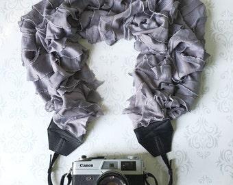 Ruffled Scarf Camera Strap, DSLR Camera Strap, Extra Long, Nikon, Canon, DSLR Photography, Wedding Photographer Gift - Ruffled Gray