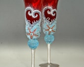 Champagne Glasses, Wedding Glasses, Hand Painted, Set of 2