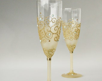 Glitter Gold, Mint Flutes, Gold Mint Glasses, Wedding Glasses, Champagne Glasses, Wedding Toast, Set 2,  HAND PAINTED