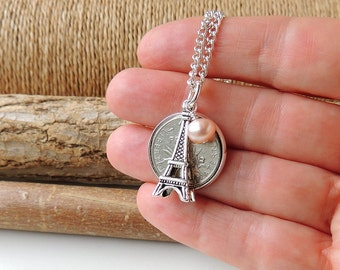 France Charm Necklace with French Franc Coin Eiffel Tower Charm & Freshwater Pearl,  France Jewellery, Charm Jewellery, UK, 1172