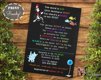 Dr Seuss Baby Shower Invitation, baby shower, Printable, Customized, unisex