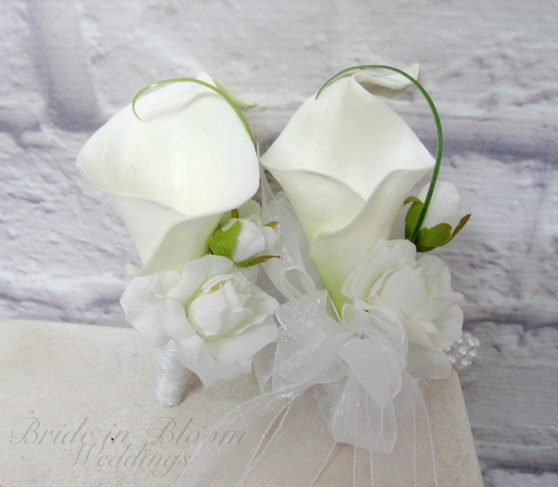 Wedding Corsage: Wrist Corsage Boutonniere Set White Wedding Wrist Corsage