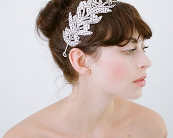 Wedding Headband,Bridal Headband, Crystal Headband,Wedding Headpiece,Silver Headband, Silver Headpiece,Silver Crystals Leaves-Evangeline
