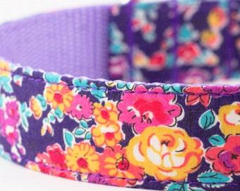 Purple Floral Dog Collar - Liberty of London