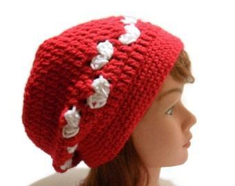 Valentine Hat, Oversized Beanie, Heart Hat, Slouchy Red Hat, White Hearts Hat, Dreadlock Hat, Slouchy Tam, Heart Tam, Love Hat, Love Heart