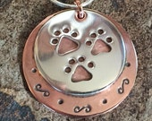 Personalized Tripawd Pride Pet Parent Pendant in Sterling Silver and Copper