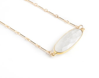 Moonstone Gold Necklace-gold necklace, dainty necklace, stone necklace, short necklace, dainty necklace