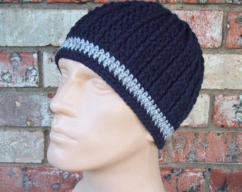 Beanie in Team Colors - Navy Blue & Silver Gray - Dallas Cowboys Colors - Mens Size M/L - Soft Acrylic Yarn - Warm Winter - Great Gift