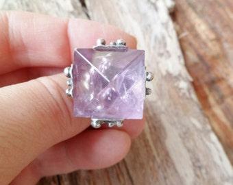 Ametrine Ring. Pyramid Ring. Ametrine Pyramid Ring. Adjustable Ring. Ametrine Properties.  Pyramid Jewelry. Ametyst Pyramid Ring. Gemstone.