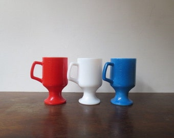Vintage '60s/'70s Red, White & Blue Federal Tall Milk Glass Pedestal Coffee Mugs