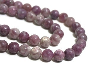 8mm natural Lepidolite beads, 6mm round pink gemstone, full & half strands available  (1178S)