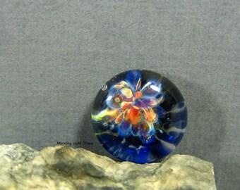 12mm Blue Island Flowers Boro Glass Bead Lampwork Cabochon Jewelry Supply