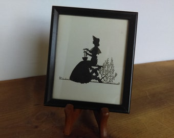 Vintage Framed Silhouette Picture Seated Victorian Lady