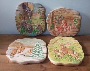 CLEARANCE! Woodland Animal Vintage Ceramic Wall Hangings