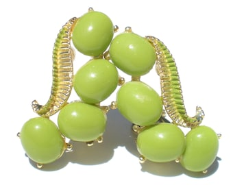 Bright Green Clip On Earrings with Lime Green Plastic Cabochons and Painted Leaf Accent - Mod Vintage Jewelry