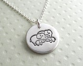 Small Elephant Family Necklace, Mom, Dad, Two Babies, Two Moms, Two Dads, New Family, Fine Silver, Sterling Silver Chain, Ready To Ship