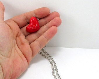 Ceramic necklace, clay necklace, heart necklace, red necklace, unique necklace, red heart necklace, handmade necklace, gift for her, red