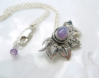 Holly Lavender Lotus Pendant - Chalcedony, Sterling and 14k Gold Accent, One of a Kind Necklace