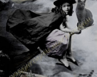 The Little Witch  Instant Download Vintage Photograph