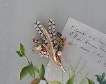 Signed ART Colorful Rhinestone Flower Bouquet Brooch