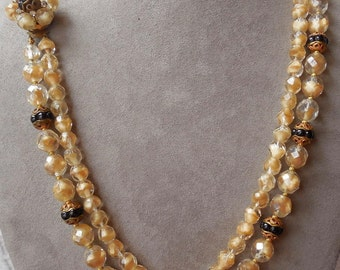 Tan & Black Givre Art Glass Bead Necklace